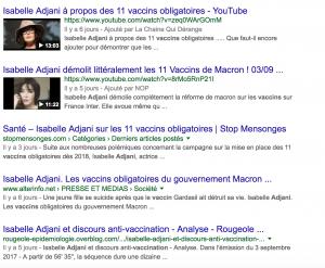 Merci Isabelle Adjani de faire remonter les sites de désinformation sur les vaccins, excellent travail.