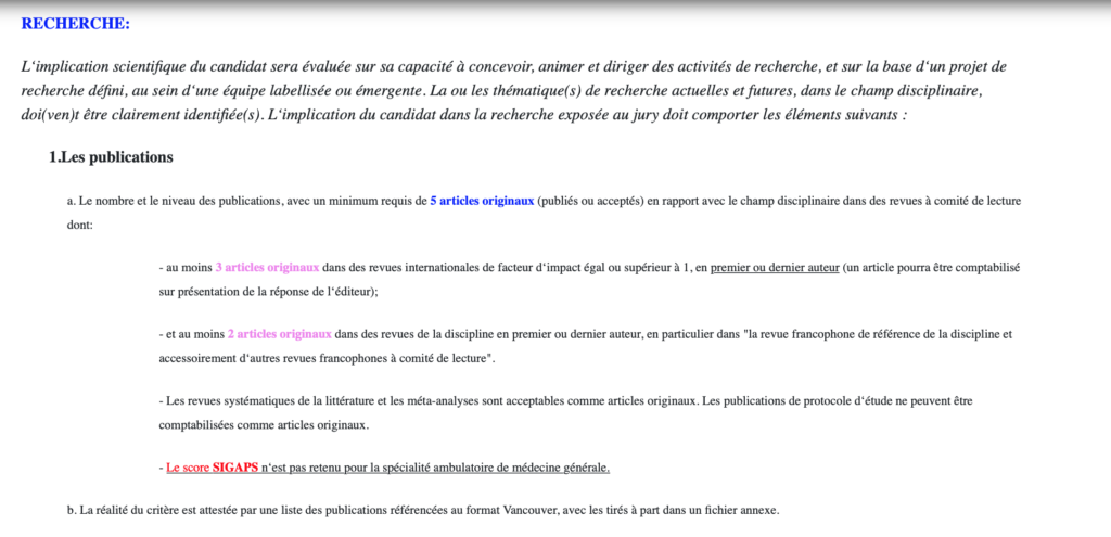 Critères CNU concernant les publications pour être MCU de médecine générale (il y a des critères cliniques, enseignements...)